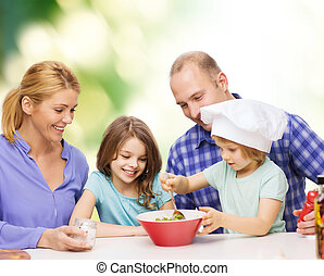 happy family with two kids eating at home - food, family,...