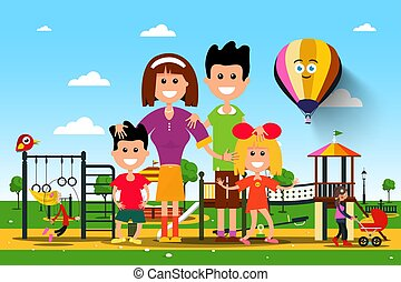 Happy Famiy in City Park. Vector.