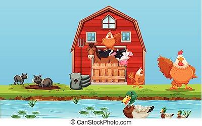 Happy farm animals scene