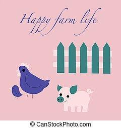 Happy farm life, cute animals, vector illustration