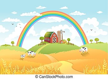 Happy farm vector illustration.