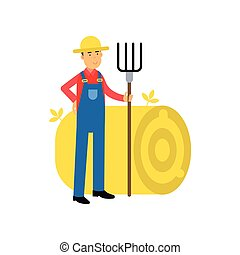 Happy farmer cartoon character in overalls standing next to...