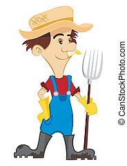 Cartoon farmer with a pitchfork on white