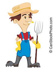 Happy Farmer - Cartoon farmer with a pitchfork on white