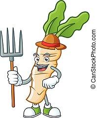 Happy Farmer horseradish cartoon mascot with hat and tools. Vector illustration
