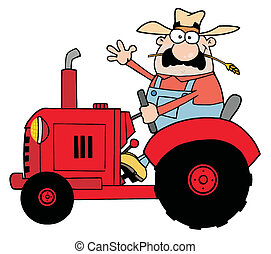 Happy Farmer In Red Tractor - Friendly Farmer Waving And...