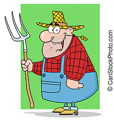 Happy Farmer Man Carrying A Rake To The Green Background