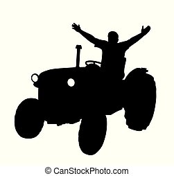 Happy farmer on tractor with raised hands