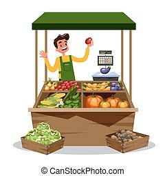 Happy farmer sell fresh organic harvest from farm. Fruit market concept. Grocery store. Man stand on the street at the tent with food. Isolated vector cartoon illustration