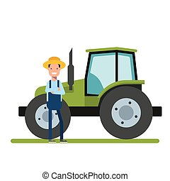 Happy Farmer standing next to the new tractor. Machinery for agriculture. The worker on the plantations or in the garden.