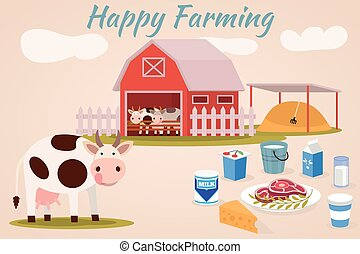 Happy farmin, Cow farm, Dairy cattle