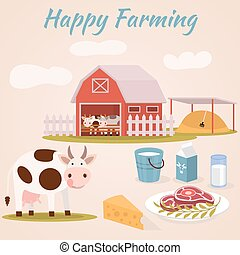 Happy farming - Cow farm. Dairy cattle