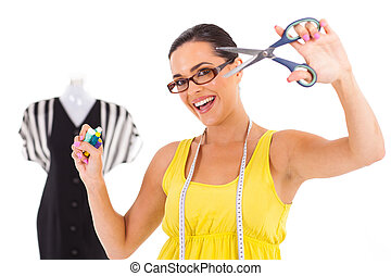 happy fashion designer