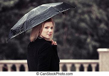 Happy fashion woman with umbrella in the rain