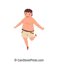Happy Fat Boy Wearing Shorts, Cute Overweight Child...