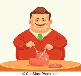 Happy fat man character eating