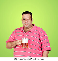 Happy fat man drinking a beer