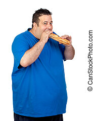 Happy fat man eating a large bread