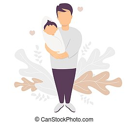 Happy father. A man stands in full growth with a newborn baby in his arms. Against the background of an from tropical leaves and plants. Vector illustration. Happy family - young dad and baby