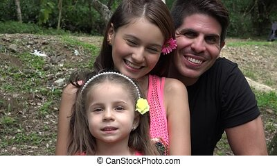 Happy Father And Daughters