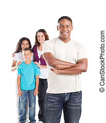 happy father and family - happy multiracial family of four...