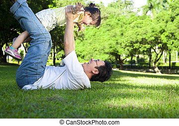 happy father and little girl on the