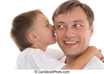 father and son on a white background
