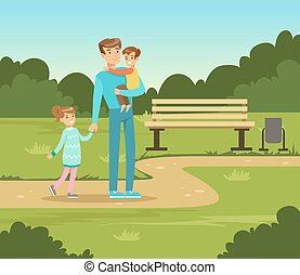Happy father and two kids walking in summer park outside, family leisure vector illustration