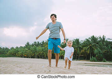 Happy Father Cute Little Daughter Walking Tropical Beach