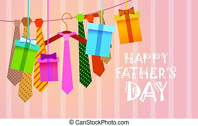 Happy Father Day Family Holiday, Necktie Greeting Card Flat...
