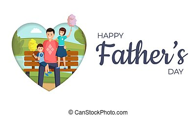 Happy father day vector banner template. Smiling son and daughter sitting on bench in park with daddy cartoon characters. Happy family eating sweet cotton candy flat illustration with typography