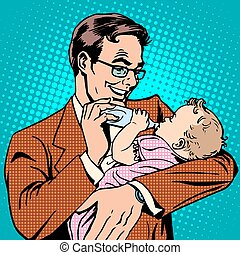 Happy father feeding newborn baby with milk pop art retro...