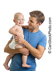 happy father holding baby in his hands isolated on white