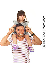 Happy father holding daughter