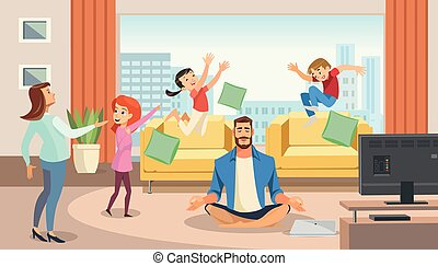 Happy father in lotus position surrounded family