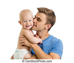 happy father kissing baby boy isolated on white