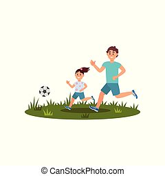 Happy father playing football with his daughter on green lawn. Family time. Summer outdoor activity. Flat vector design