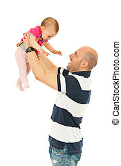 Happy father playing with baby