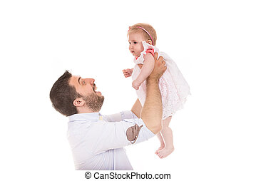 Happy father raise his daughter
