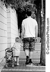 happy father with adorable girl outdoor