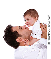 Happy father with baby daughter