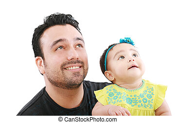 Happy father with his little baby girl looking up
