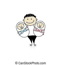 Happy father with newborn twins
