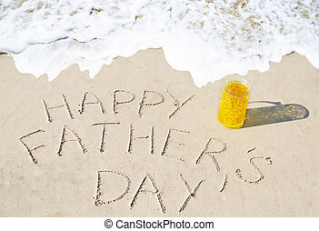 Happy father's day background on the sandy beach