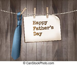 Happy Father's Day background with a blue tie on a wooden backdrop. Vector.