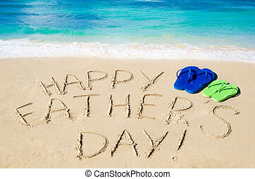 Happy father's day background with flip flops on the sandy ...