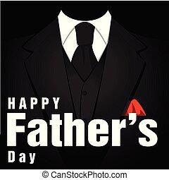 Happy Father's Day Black Tuxedo Black Background Vector Image