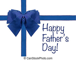 Happy Father's Day blue bow and ribbon isolated white ...