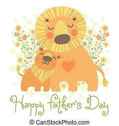 Happy Father's Day card. Cute lion and cub. Vector...