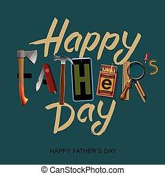 Happy fathers day card, vintage retro design